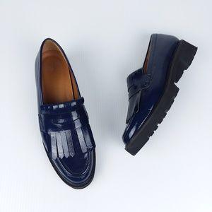 Franco Sarto Navy Blue Fringe Loafers